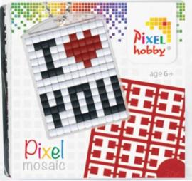 Pixelhobby Pixel mosaic medaillon startset I love you sleutelhanger
