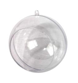 Decoratie acryl bal tweedelig Ø 10 cm met opening Ø 7,5 cm