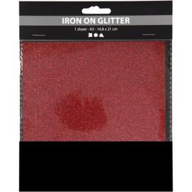 Opstrijkfolie glitter rood 1 vel A5 14,8 x 21 cm