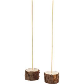 Deco houten staanders 2 stuks voet Ø 5 cm stok hoogte 25 cm