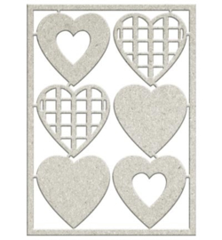 FabScraps die-cut grey chipboard embellishment 6 hearts (harten) DC96 011