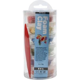 Foam Clay (klei) staaf metallic licht assorti 6 bakjes à 14 gram met spatel
