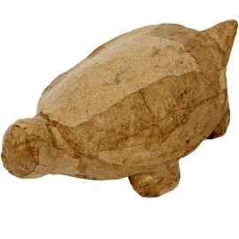Handgemaakte schildpad massief van papier-mâché  13 x 7,5 x 4,5 cm
