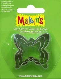 Makin's uitstekers vlinders 3 stuks, grootste Ø 3,8 cm