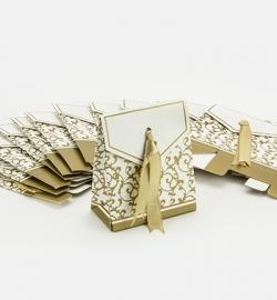 Hobby Crafting Fun papieren doosje met lint goud 12 stuks 6,5 x 3,5 x 7,5 cm