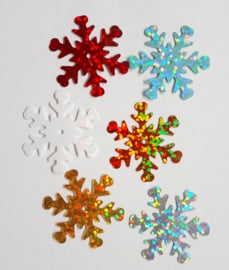 Zakje pailletten sneeuwvlokken assorti klein 60 stuks 7 gram