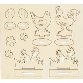 DIY houten (triplex) figuren kippen en bloemen 16,9 x 15,4 cm dikte 2 mm 57889
