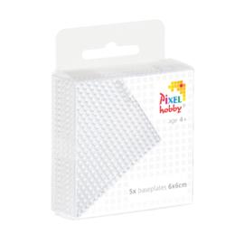 Pixelhobby basisplaat transparant klein 6 x 6 cm set van 5 stuks