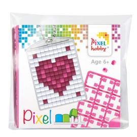 Pixelhobby mosaic medaillon startset hart in hart sleutelhanger