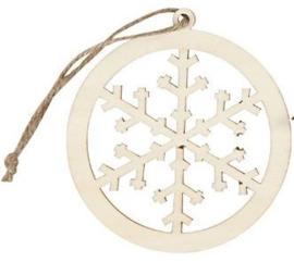 Kerstornament triplex sneeuwster Ø 8 cm dikte 3 mm