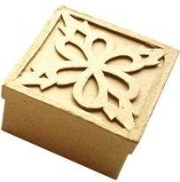 Doosje van  papier-mâché vierkant 7,5 x 7,5 x 4 cm