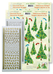 LeCreaDesign Decoratie 3D vel set Kerstbomen 50.9357