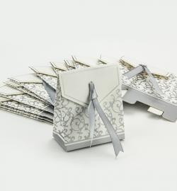 Hobby Crafting Fun papieren doosje met lint zilver 12 stuks 6,5 x 3,5 x 7,5 cm