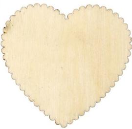 Houten harten labels  5,1 x 5,1 cm dikte 1 mm 10 stuks