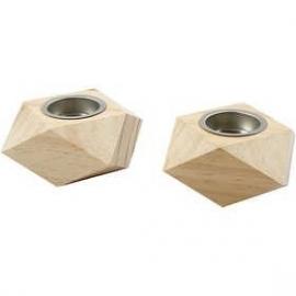 Waxinelicht hout grenen 2 stuks 9 x 9 x 5 cm gatgrootte 4 cm