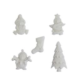 Ismare Keramiek scrapbook ornamenten sneeuwpop 5 stuks