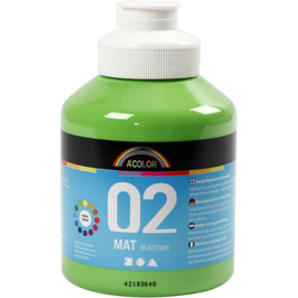 A' Color 02 mat readymix verf op waterbasis lichtgroen fles 500 ml