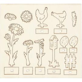 DIY houten (triplex) figuren bloemen en kippen 16,9 x 15,4 cm dikte 2 mm 57941