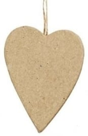 Handgemaakte hart van papier-mâché 5,9 x 7,2 x 1,3 cm
