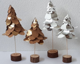Kerstboom pakket van Faux Leather paper groot wit/zilver