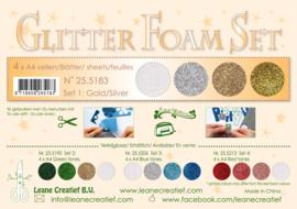 Leane Creatief Glitter Foam Set 1 Gold/Silver 25.5183 4 vellen assorti A4
