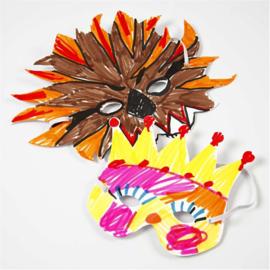 Teach Me fantasie masker kroon 2 stuks wit karton 230 grams zonder elastiek