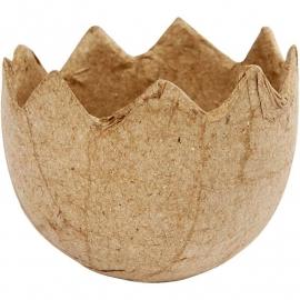 Handgemaakte eierschaal van papier-mâché Ø 5 cm, hoogte 4 cm