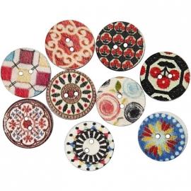 Vrolijke houten knopen assorti diverse kleuren Ø 20 mm 18 stuks