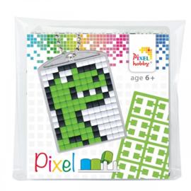 Pixelhobby Pixel mosaic medaillon startset dino tirex sleutelhanger