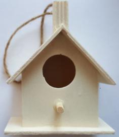 Mini vogelhuis 5 van hout populier met ophangkoord 6,4 x 4 x 7,6 cm