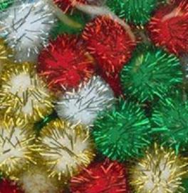 Darice Pompoms Kerst glitter assorti 80 stuks Ø 1,25 cm