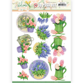 Jeanine's Art Welcome Spring Hyacinth 3D push out stansvel A4 SB10529