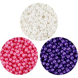 Pearl Clay 3 x 25 gram pearls roze, wit, paars en 38 gram gel