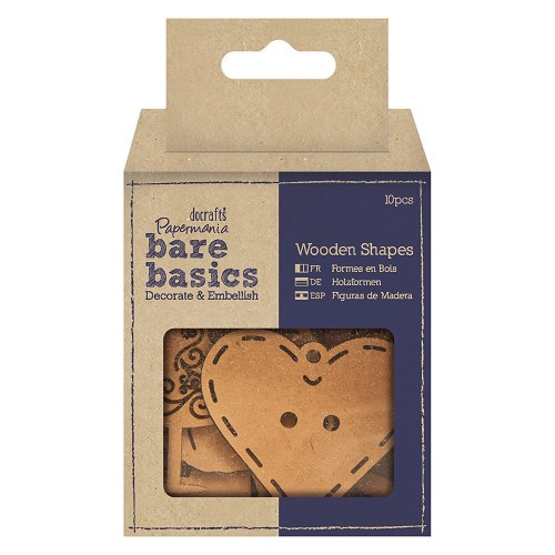 Docrafts Papermania bare basics wood shape haberdashery icons PMA 174617