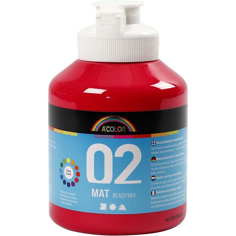 A' Color 02 mat readymix verf op waterbasis primair rood fles 500 ml