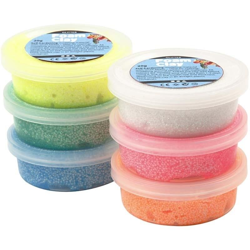 Foam Clay (klei) staaf glitter assorti 6 bakjes à 14 gram met spatel