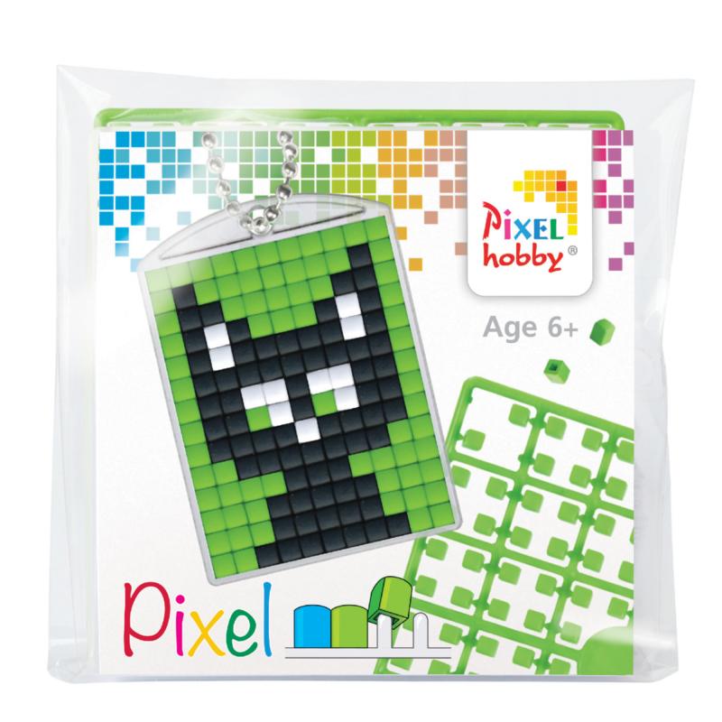Pixelhobby mosaic medaillon startset black cat sleutelhanger