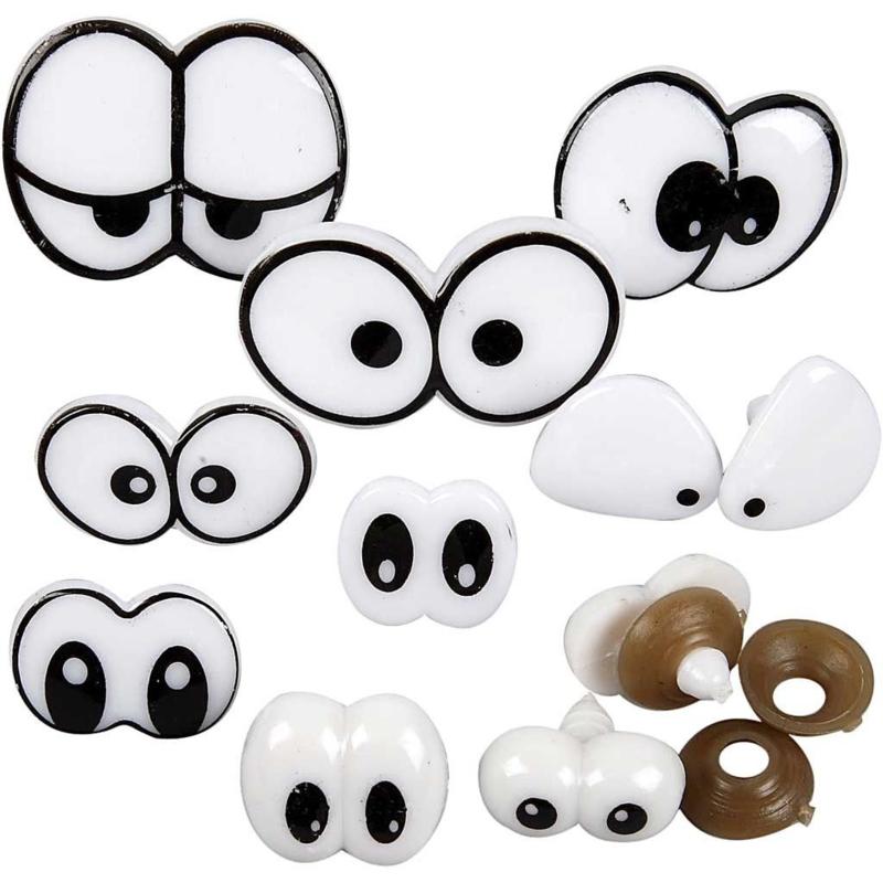 Grappige ogen van hard plastic met sluiting assorti 9 paar