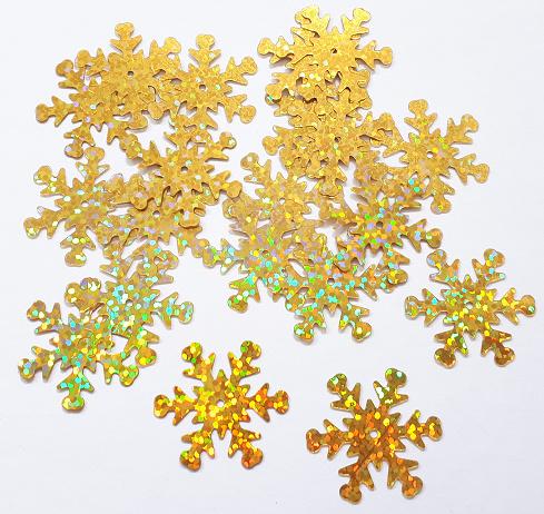 Zakje pailletten sneeuwvlokken klein goud 20 stuks Ø 2,5 cm