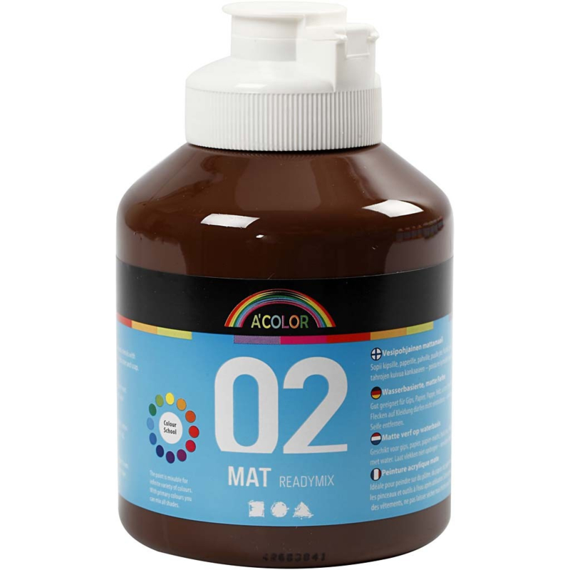 A' Color 02 mat readymix verf op waterbasis bruin fles 500 ml