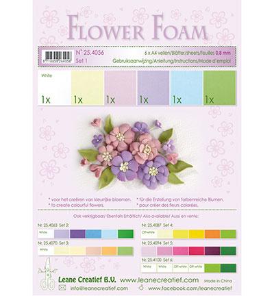 Leane Creatief Flower Foam set 1 blue-violet colours 25.4056 6 vellen assorti A4