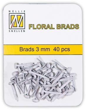 Nellie Snellen glitter brads (splitpen) FLP-GB 002 white (wit) 3 mm 40 stuks