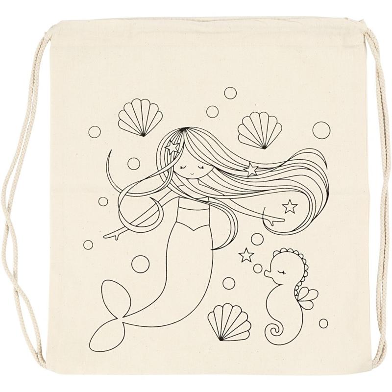 Fabric (stof) rugzak zeemeermin 37 x 41 cm licht naturel