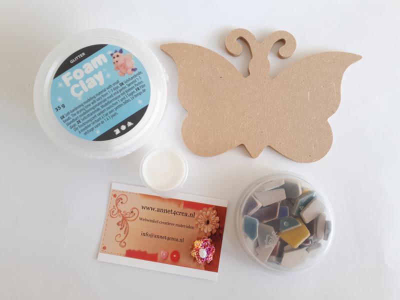 Foam Clay compleet knutselpakket MDF vlinder met mozaïekstenen