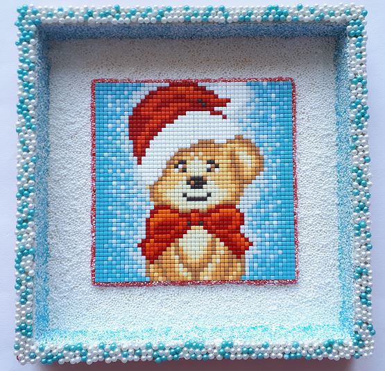 Houten schilderij Pixelhobby Kerstbeertje 20 x 20 x 2,5 cm
