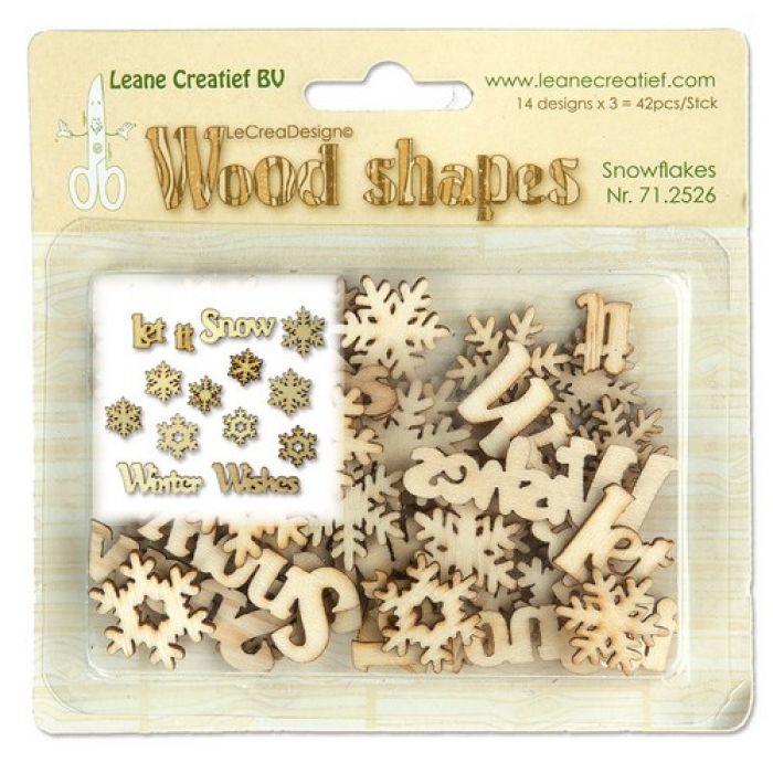 Leane Creatief Wood shapes snowflakes (sneeuwvlokken) 42 stuks 71.2526