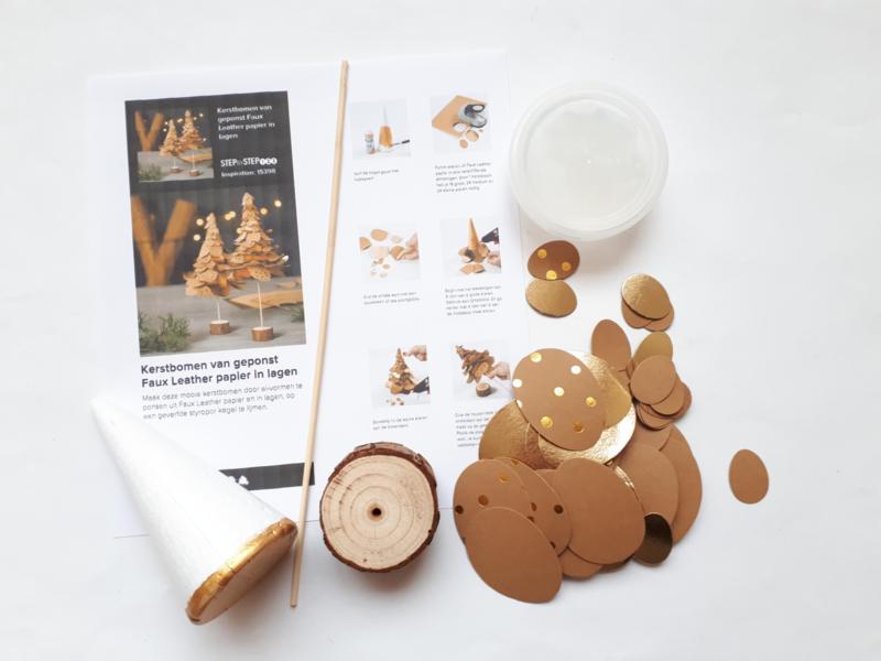 Kerstboom pakket van Faux Leather paper klein bruin/goud