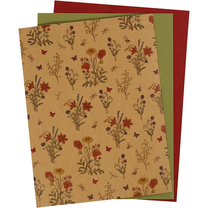 Faux Leather Paper groen, naturel, rood 3 vellen in verschillende maten