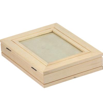 Houten doos met fotoraam en glasplaat 18,8 x 14,5 x 4 cm