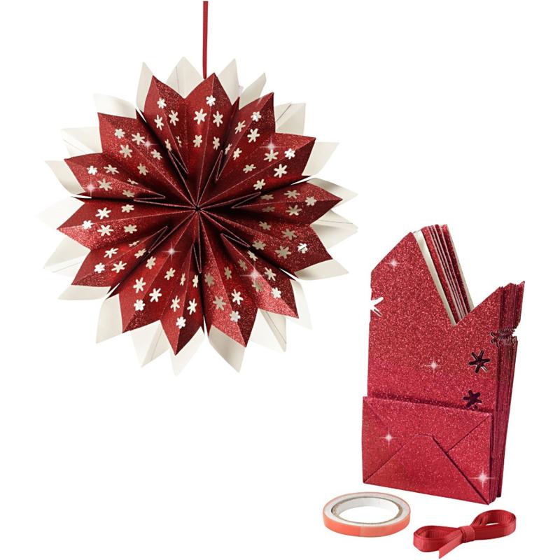 Vivi Gade Design ster van papieren zakken glitter rood Ø 33 cm 150 grams